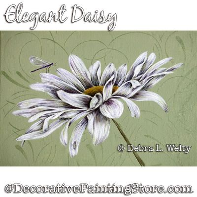 Elegant Daisy Painting Pattern DOWNLOAD - Debra Welty