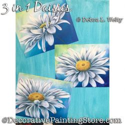 3 in 1 Daisy Painting Pattern DOWNLOAD - Debra Welty