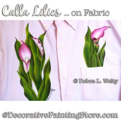 Calla Lilies on Fabric Painting Pattern DOWNLOAD - Debra Welty