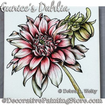 Eunices Dahlia Painting Pattern DOWNLOAD - Debra Welty
