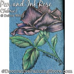 Pen and Ink Rose Fabric Painting Pattern PDF DOWNLOAD - Debra Welty