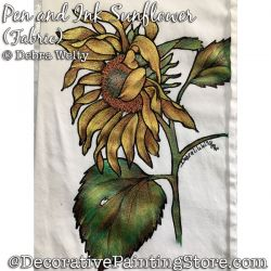 Pen and Ink Sunflower (and Dragonflies) Fabric Painting Pattern PDF DOWNLOAD - Debra Welty