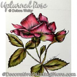 Upturned Rose Media Fluid Painting Pattern PDF DOWNLOAD - Debra Welty