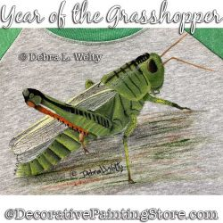 Year of the Grasshopper Fabric Painting Pattern PDF DOWNLOAD - Debra Welty