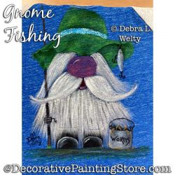 Gnome Fishing Fabric Painting Pattern PDF DOWNLOAD - Debra Welty