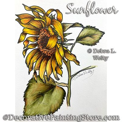 Sunflower Media Fluid Painting Pattern PDF DOWNLOAD - Debra Welty