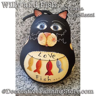 Willy and Fishes Black Cat Gourd ePattern - Eliana Castellazzi - PDF DOWNLOAD