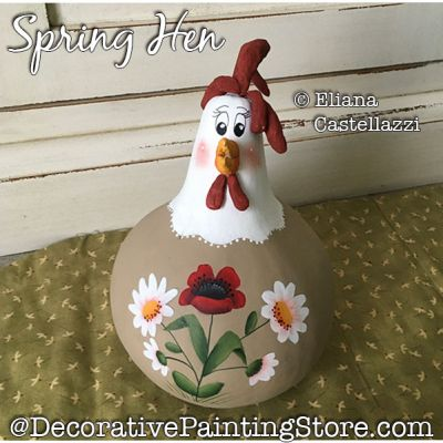 Spring Hen Gourd Painting Pattern PDF Download - Eliana Castellazzi