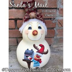 Santas Mail (Snowman Gourd) Painting Pattern PDF Download - Eliana Castellazzi