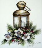 Christmas Rose Lantern Pen and Ink ePacket - Wendy Fahey - PDF DOWNLOAD