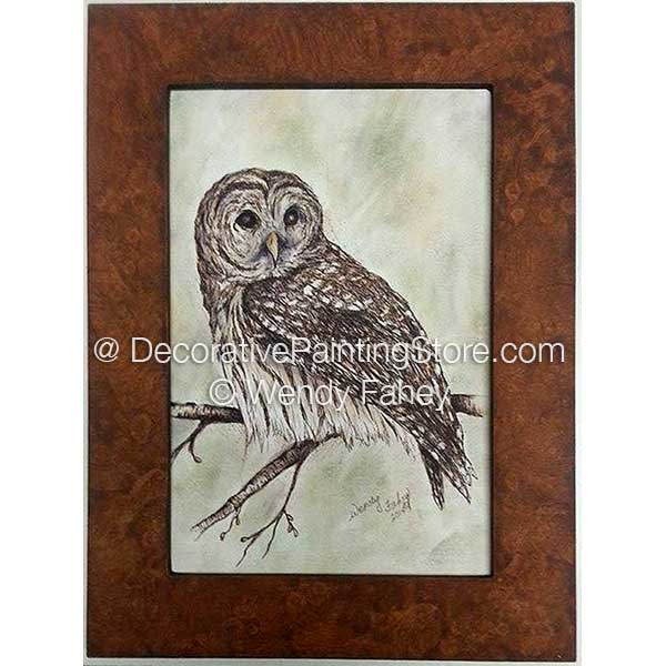 Barred Owl & Faux Wood Frame Pen and Ink ePacket - Wendy Fahey - PDF DOWNLOAD