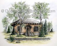 Whistle Stop Train Station - Pen and Ink ePacket - Wendy Fahey - PDF DOWNLOAD