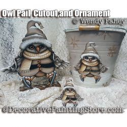 Owl Pail Cutout and Ornament ePacket - Wendy Fahey - PDF DOWNLOAD