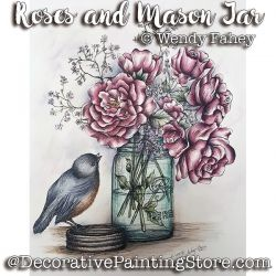 Roses and Mason Jar Pen and Ink ePacket - Wendy Fahey - PDF DOWNLOAD