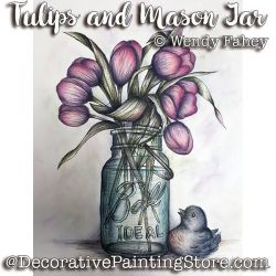 Tulips and Mason Jar Pen and Ink ePacket - Wendy Fahey - PDF DOWNLOAD