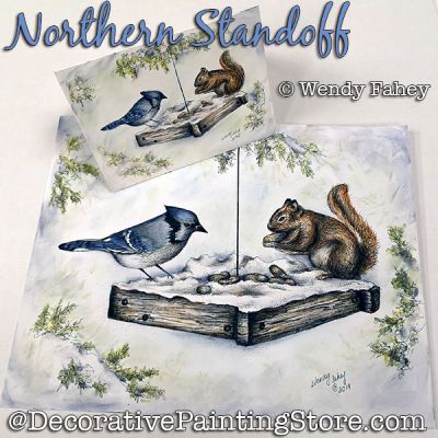 Northern Standoff (Bluejay and Squirrel) Pen and Ink DOWNLOAD - Wendy Fahey