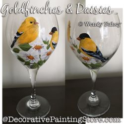Goldfinches and Daisies (on Glass) DOWNLOAD - Wendy Fahey