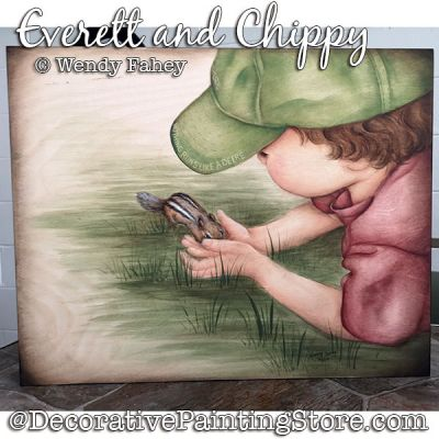 Everett and Chippy (boy and chipmunk) Painting Pattern PDF DOWNLOAD - Wendy Fahey