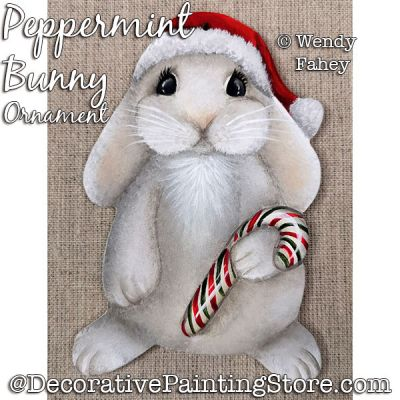 Peppermint Bunny Ornament Painting Pattern PDF DOWNLOAD - Wendy Fahey