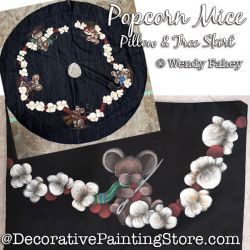 Popcorn Mice Pillow and Tree Skirt Painting Pattern PDF DOWNLOAD - Wendy Fahey