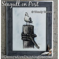 Seagull on Post (Pen and Ink) Painting Pattern PDF DOWNLOAD - Wendy Fahey
