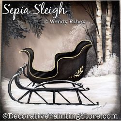 Sepia Sleigh Painting Pattern PDF DOWNLOAD - Wendy Fahey