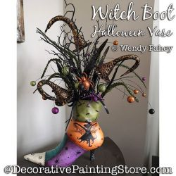 Witch Boot Halloween Vase Painting Pattern PDF DOWNLOAD - Wendy Fahey