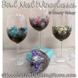 Bird Nest Wine Glasses Painting Pattern PDF DOWNLOAD - Wendy Fahey