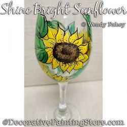 Shine Bright Sunflower Wine Glass Painting Pattern PDF DOWNLOAD - Wendy Fahey