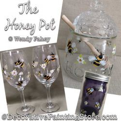 The Honey Pot (Bumble Bees / Daisies) Glass Painting Pattern PDF DOWNLOAD - Wendy Fahey