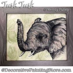 Tusk Tusk (Elephant Pen and Ink) Painting Pattern PDF DOWNLOAD - Wendy Fahey