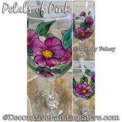 Petals of Pink Glass Painting Pattern PDF DOWNLOAD - Wendy Fahey