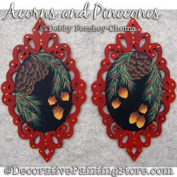 Acorns and Pinecones Ornaments Painting Pattern DOWNLOAD - Debby Forshey-Choma