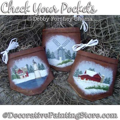 Check Your Pockets Ornaments (Snow Scenes) Painting Pattern DOWNLOAD - Debby Forshey-Choma
