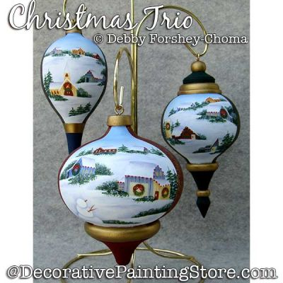 Christmas Trio Ornaments (Snow Scenes) Painting Pattern DOWNLOAD - Debby Forshey-Choma
