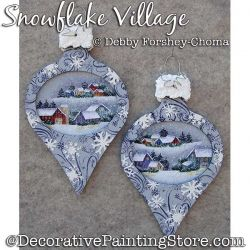 Snowflake Village Ornaments Painting Pattern DOWNLOAD - Debby Forshey-Choma