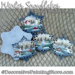 Winter Snowflakes Coaster Set Painting Pattern DOWNLOAD - Debby Forshey-Choma