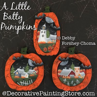 A Little Batty Pumpkins Ornaments Painting Pattern DOWNLOAD - Debby Forshey-Choma
