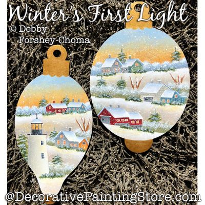 Winters First Light Ornaments Painting Pattern DOWNLOAD - Debby Forshey-Choma