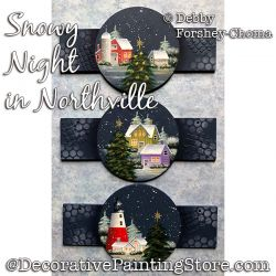 Snowy Night in Northville Ornaments Painting Pattern DOWNLOAD - Debby Forshey-Choma