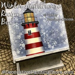 Winter Lighthouse Recipe Box Painting Pattern DOWNLOAD - Debby Forshey-Choma