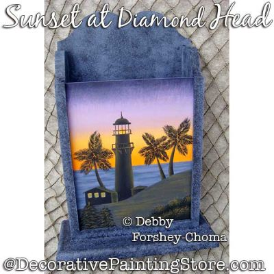 Sunset at Diamond Head Lighthouse Painting Pattern PDF DOWNLOAD - Debby Forshey-Choma