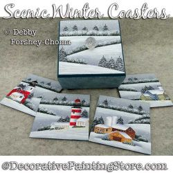 Scenic Winter Coasters Painting Pattern PDF DOWNLOAD - Debby Forshey-Choma