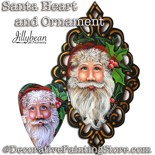 Santa Heart and Ornament PDF DOWNLOAD - Jillybean Fitzhenry