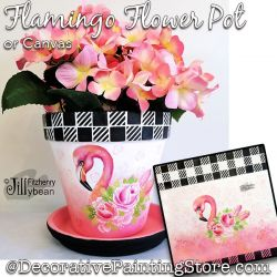 Flamingo Flower Pot or Canvas Painting Pattern PDF Download - Jillybean Fitzhenry