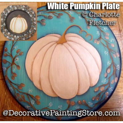 White Pumpkin Plate or Plaque e-Pattern - Charlotte Fletcher - PDF DOWNLOAD