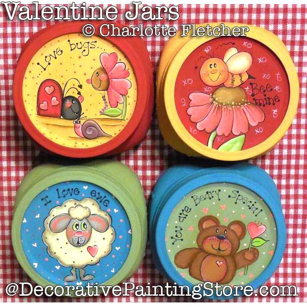 Valentine Treat Jar Lids e-Pattern - Charlotte Fletcher - PDF DOWNLOAD