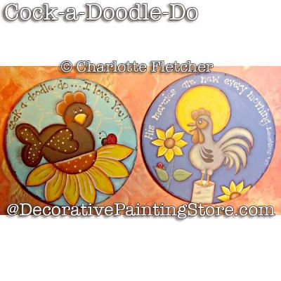 Cock a Doodle Do (rooster ornaments) e-Pattern - Charlotte Fletcher - PDF DOWNLOAD