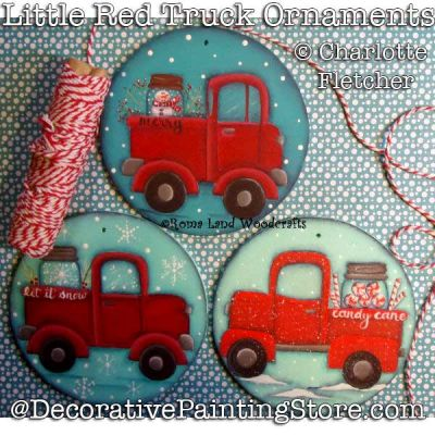 Little Red Truck Ornaments DOWNLOAD Painting Pattern - Charlotte Fletcher