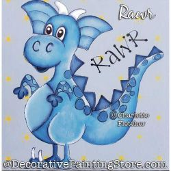 Rawr (Dragon / Dinosaur) Painting Pattern PDF DOWNLOAD - Charlotte Fletcher